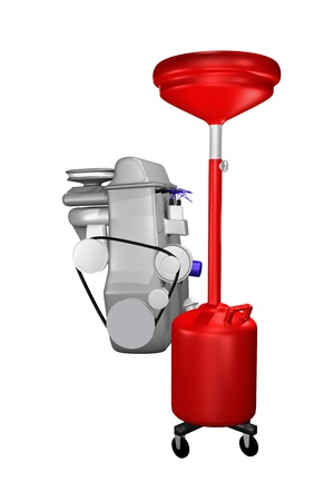red oil drain and engine concept