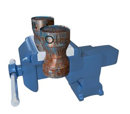 vise: bidones de aceite aplastados en el tornillo de Banco Foto de archivo