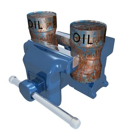 oil barrels in vise Фото со стока