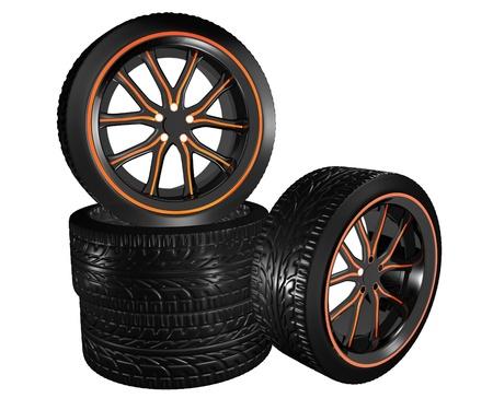 rims: orange accent car rims Stock Photo