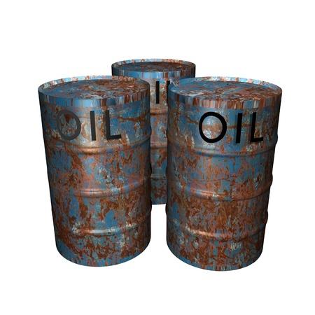 rusty blue oil barrels