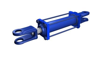 青の油圧シリンダー 写真素材