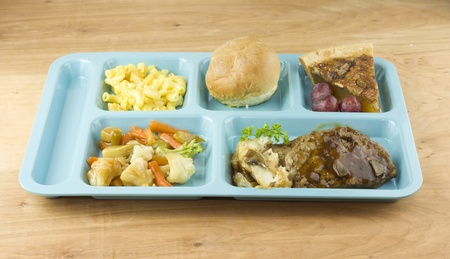 meatloaf cafeteria meal Stock Photo
