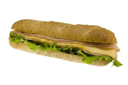 ham sub on white