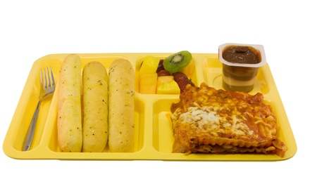 lasagna cafeteria style meal