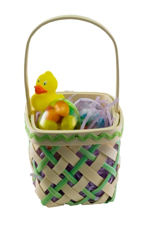 green pastel easter basket with duckie