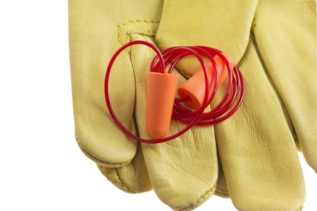 workplace safety: ear plug closeup Stock Photo