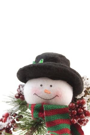 snowman with pine branch Stock fotó