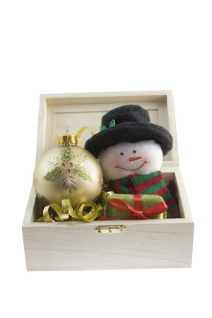 snowman and holly bauble Stock fotó