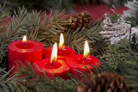 red advent candles Stock fotó - 11095619