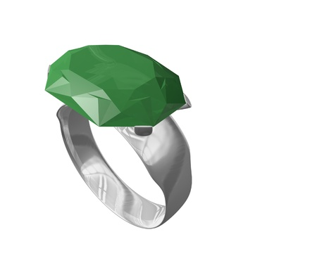 silver emerald ring Stock fotó - 11621663