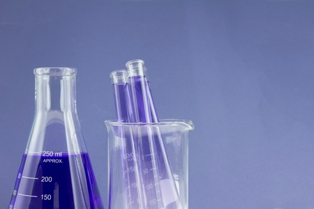 flask and test tubes in beaker