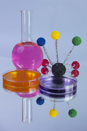 petri dishes and flask