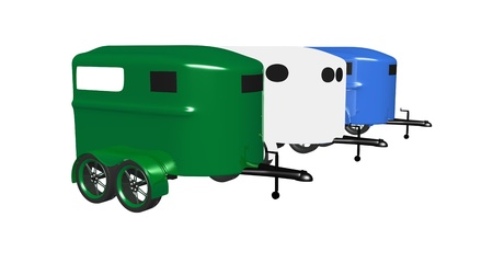 3 horse trailers Stock fotó - 14009454
