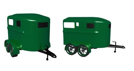 glossy green horse trailer Stock fotó - 14009463