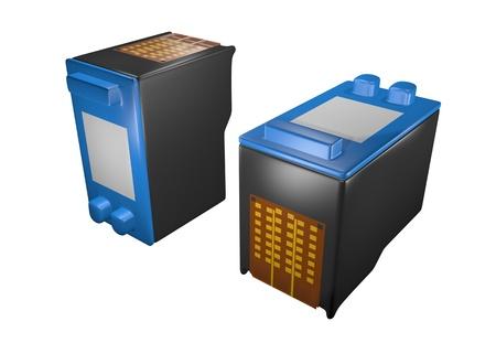 two inkjet printer cartridges 写真素材