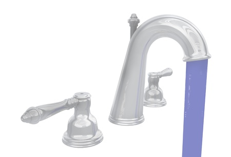 flowing chrome faucet 版權商用圖片