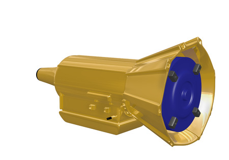 gold automotive transmission with blue painted torque convertor on a white background Stock fotó - 24691606