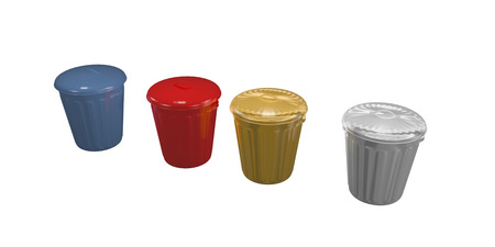 blue, red, gold, and silver trash cans Stock fotó - 24691609