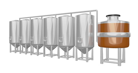 copper mash vat with multiple shiny tanks part of a beer brewery