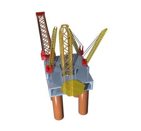 Illustration of a top view of an offshore oil platform Stock fotó