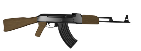 tactical: illustration of a assault rifle with wood grain stock isolated on white