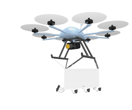 unmanned: mobile advertising concept with blank billboard hanging under drone