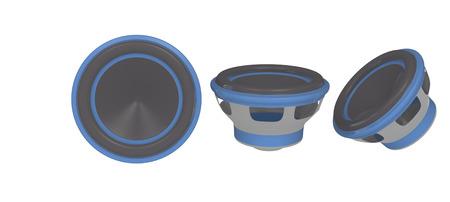 Trois vues d'un haut-parleur stéréo de voiture Banque d'images - 26050503