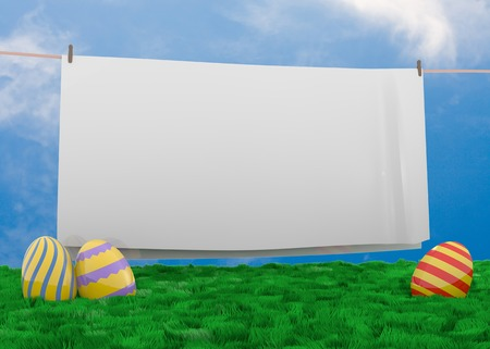 Easter eggs lying in lush grass with white sheet hanging on a clothesline with space for your text Stock fotó - 27585763