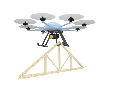 construction concept with roof truss hanging under drone delivering to a roof top site