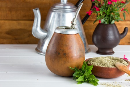 Yerba mate traditional tea popular in latin america sirved on the wooden selective focus