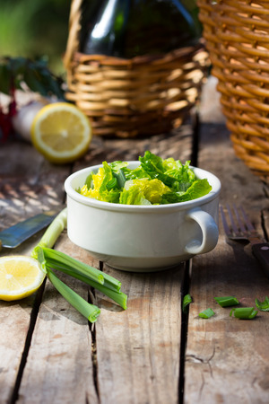 botle: Lettuce salad in white bowl with botle and basket on background