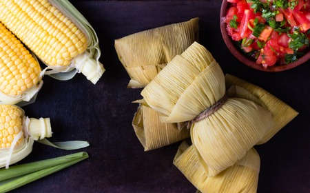 Latin American food. Traditional homemade humitas of corn. Top view Stock Photo