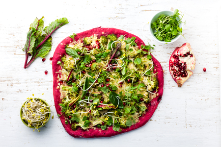 berro: Purple beetroot dough, vegetables and sprouis pizza, Healthy fast food