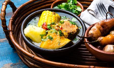 chilean: Latin American food. Traditional chilean pork soup cazuela. Cazuela Chilena Stock Photo