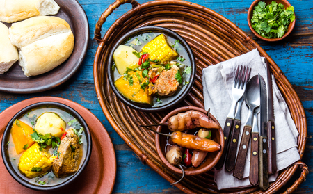 Latin American food. Traditional chilean pork soup cazuela. Cazuela Chilena Stock Photo