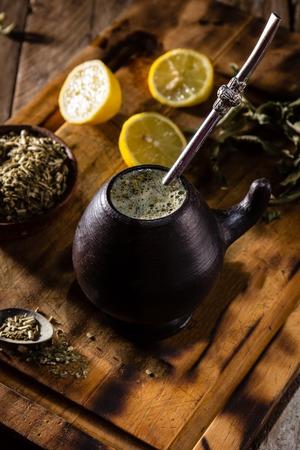 Yerba mate - Latin American hot drink herb tea Stock Photo