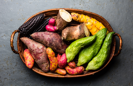 Fresh peruvian Latin American vegetables caigua, sweet potatoes, black corn, camote, yuca. Top view
