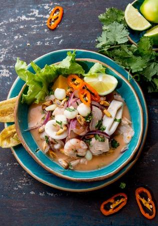 PERUVIAN CEVICHE SEBICHE. Peruvian seafood and fish sebiche with maize Standard-Bild