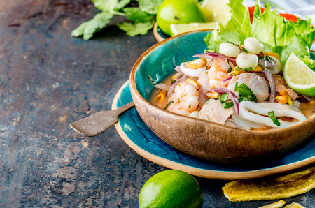 PERUVIAN CEVICHE SEBICHE. Peruvian seafood and fish sebiche with maize 스톡 콘텐츠