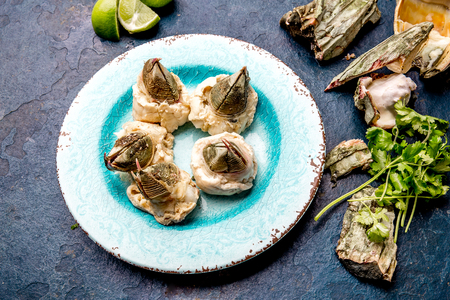SEAFOOD PICOROCO. Prepared picoroco, Austromegabalanus psittacus, the giant barnacle or picoroco. Chilean and peruvian cost seafood Stock fotó