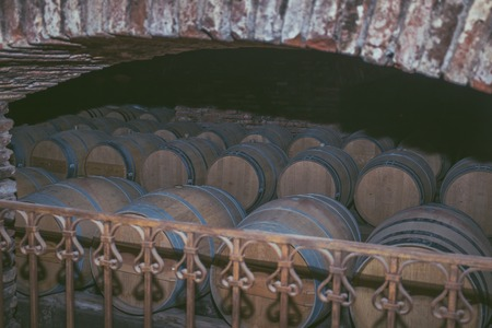 Wine barrels in a old cellar at winery. Wooden barrels of wine in vineyard.