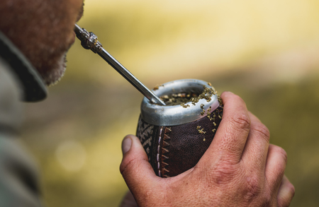 Middle aged man drinking yerba mate in nature. Travel and adventure concept. Latin American drink yerba mate Stockfoto