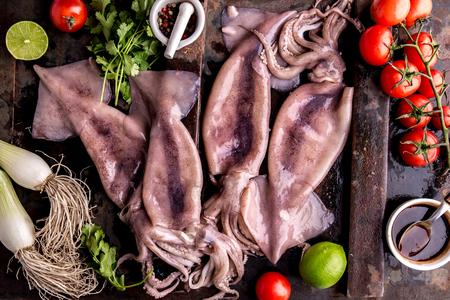 Fresh raw seafood squid calamary and ingredients on dark background. Top view.