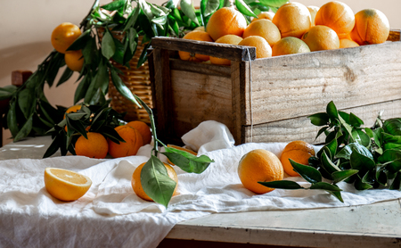 Table with box of fresh orange with orange tree branch and fresh orange juice