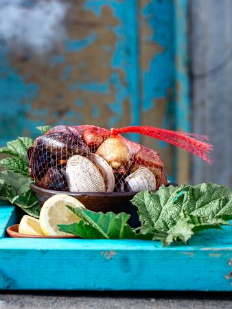 Famous traditional dish of the south of Chile and the Chiloe archipelago - Curanto Kuranto.  Different seafood and meat cooked in a pit on the coals under the ground. Imagens
