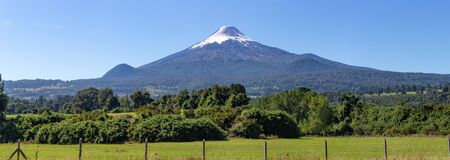Panoramic landcape. Volcano Osorno, Region Los Lagos Chile. Zdjęcie Seryjne