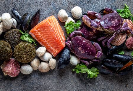 PACIFIC SEAFOOD. Fresh salmon, crabs ostions clams mussels, seaweed cochayuyo, sea urchins. Food background with copy space. Stock fotó