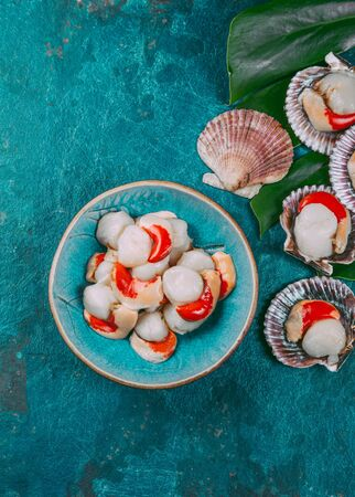 Raw fresh seafood shellfish scallops on blue background. Stockfoto