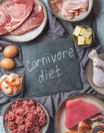 Selection food for CARNIVORE DIET. Seafood, Meat, megs and fat. Zero carbs diet concept.